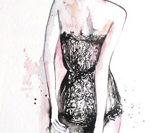 Romantic Watercolor Illustration - Fashion Illustration by Lana Moes - Original Painting Lingerie