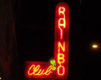Chicago Photo, RAINBO CLUB II, Urkainian Village, Wicker Park, photography, Chicago Art, music, vintage neon sign, speakeasy, Art Deco, bar