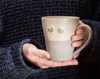 Ceramic Mug, Big Coffee Mug, Romantic Cup, Romantic Ceramic Gift, Romantic Ceramic Mug, Heart Mug, Large Clay Mug, Stoneware Mug, Gift Mug