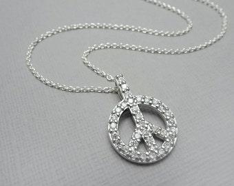 Peace Sign, Peace Sign Necklace, Peace Necklace, Sterling Silver Peace Sign, Personalized Necklace Gift,  Peace Necklace, Gift for Her