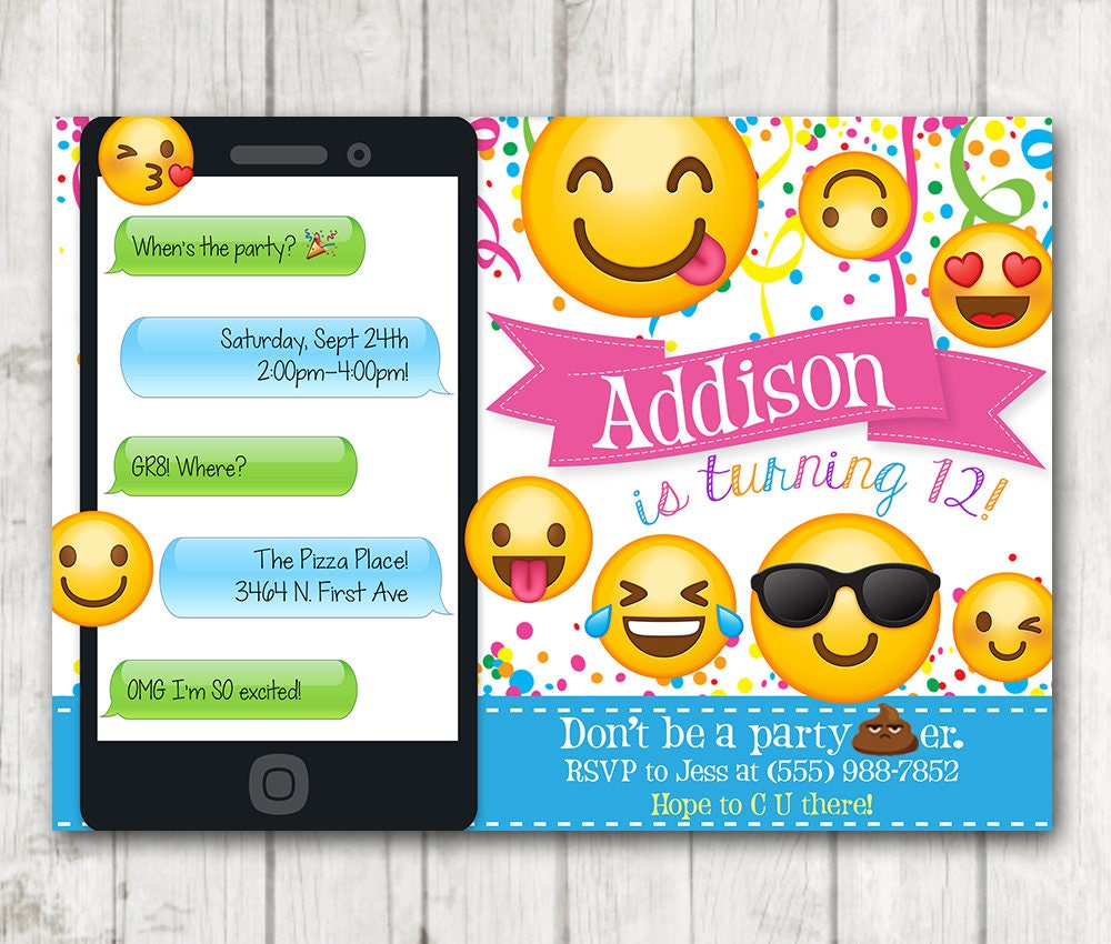 Superb image intended for printable emoji birthday invitations