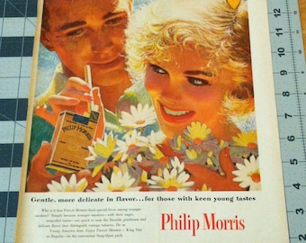 Vintage Edwin Georgi Illustration Philip Morris Cigarettes Ad 1950s Couple Summer Romance Glowing Blonde Daisies