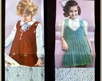 Girls dress knitted tutorial, 40/50's