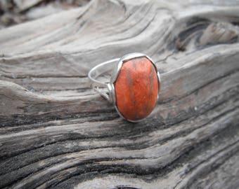 Sterling Silver Red Jasper Ring Size 8.5