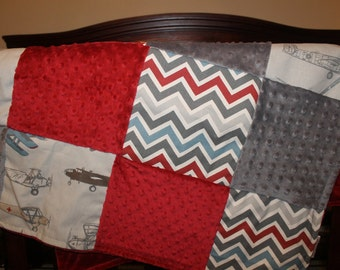 Airplane Crib Bedding - Vintage Airplane, Pewter Chevron, and Gray Crib Bedding Ensemble with Patchwork Baby Blanket
