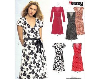 Faux Wrap Dress Pattern New Look 6697 Long Sleeve Dress or Sleeveless Dress Womens Size 8 to 18 Easy Sewing Pattern UNCUT
