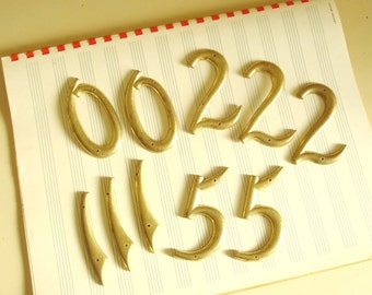 Brass house number, vintage new old stock solid brass address, 0, 1, 2 or 5, industrial decor, address sign number
