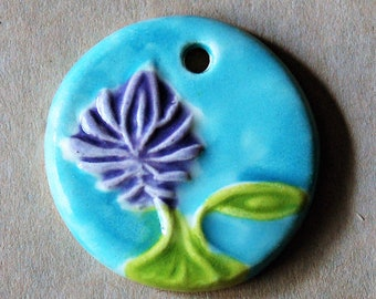 Lovely Lotus - Large Hand painted Ceramic Pendant with Serene Lavender Lotus - perfect as a mala focal for meditation and yoga jewelry