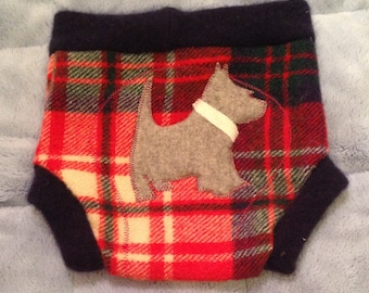 Large Red Plaid Grey Dog 100% Wool Soaker Diaper Cover Shorties Double Layer Wet Zone