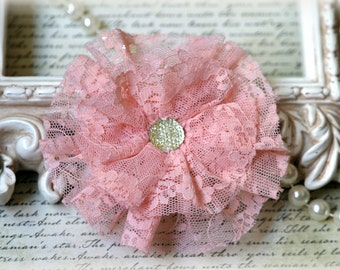 Tresors   Large Pink Lace Flowers For Headbands, Sashes, Clothing, Crafting etc Approx. 4 inches across  FL-123