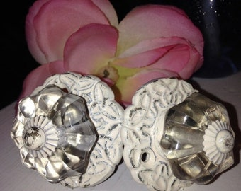 ON SALE, SPRING Sale Glass Knob Only - Drawer Pulls/ Drawer Knobs/ Off-White Knobs/ Glass and Metal Drawer Knobs - Set of 2