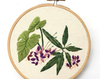 Flower Embroidery. Plant Embroidery. Hand Embroidered Hoop Art. Hand Stitched Embroidery Hoop. Satin Stitch. Jungle Leaf Embroidery. Purple