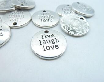 """15pcs 20mm Antique Silver Letter """"Live Laugh Love"""" Charms Pendant c5028"""