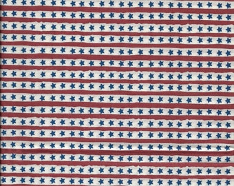 """New Red and White Stripes with Blue Stars on 100% Cotton Fabric 35"""" x 43"""" Piece"""