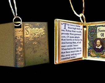 Sonnet 91 by William Shakespeare -Miniature Book Shaped Charm Pendant - for charm bracelet or necklace. Custom available!
