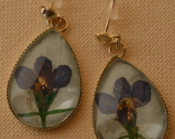 Verbena Earrings / Nature Inspired Jewelry /  Gift for Woman/ Bridesmaid Gift/Mother Gift/ Pressed flowers/ Pressed Flower Jewelry