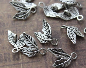 20 Tiny Leaf Charms Leaf Pendants Antiqued Silver Tone 10 x 13 mm