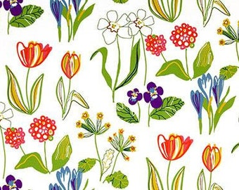 Tablecloth white green yellow blue tulips spring flowers modern Scandinavian Design , napkins , table runner , curtains napkins , great GIFT