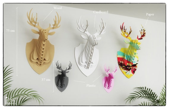DEER HEAD 3D PUZZLE Template cutting file faux taxidermy