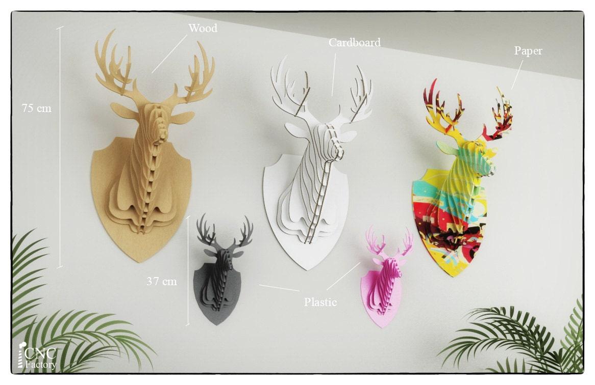 PUZZLE 3D de la cabeza de ciervo láser de archivo
