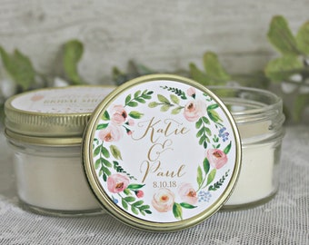 Blush, gold and greenery Wedding Favor Candle / Set of 12 - 4 oz Wedding Favors / Personalized Candle Favor / Floral Wedding Favor