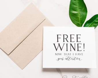 Funny Bridesmaid Card - Bridal Party Cards - Bridesmaid Proposal - Maid of Honor Funny - Wine Lover - Free Wine! | Brooklyn, Free Wine