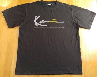 KARL KANI jersey, vintage hiphop t-shirt of 90s hip-hop clothing, 1990s hip hop shirt, black cotton og gangsta rap old-school, og, size L