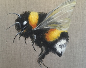 Bumble Bee Custom Oil Painting Insect Nature Art Buzz
