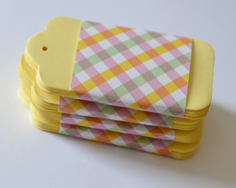 Large Yellow Tags, 100 Pastel Hang Tags, 4 inch Paper Tag, Wedding Tags, Yellow Price Tags, 100 Large Tags