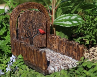 Mini Cardinal Fairy Door with Walkway and Hinged Door for the Fairy Garden