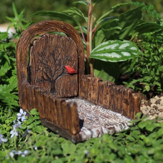 Red Cardinal Fairy Door with Walkway and Hinged Door for the Fairy Garden