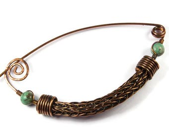 Copper Safety Pin Brooch, Viking Knit Jewelry, African Turquoise Green Blue for Scarf, Unique Copper Gift for Her, Shawl or Jacket