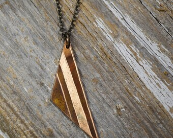 Geometric Necklace in Bronze - Triangle Minimalist Necklace Hand Engraved in Bronze - Reagan Juel: Wander36