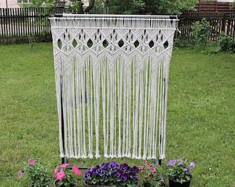 Custom Macrame curtain, room divider, macrame wall hanging, wedding backdrop, Boho Macrame home decor, Macrame window Curtain