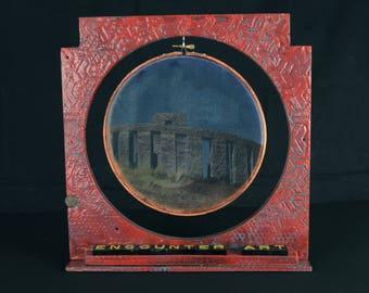 Encounter Art:  original art, assemblage art, encaustic collage, silk print, shelf art, 3D art, columbia gorge art, foundturtle, oregon