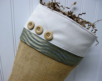 Blue and Gold Christmas Stocking in Burlap with 3 wood buttons