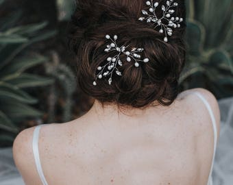 "Bridal Hair Acessories, Wedding Hair Accessories - ""Jessica"" Pearl or Crystal Vine Hair Pin in Silver, Gold or Rose Gold"