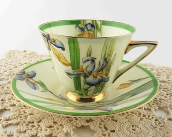 Royal Doulton England Iris Pattern Footed Teacup & Saucer, 1930s Art Deco Green Gold Band Hand Painted Porcelain China