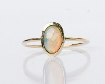 Opal Ring, 14k gold ring, Opal Engagement ring, October Birthstone, Birthstone ring, Gemstone ring, Opal jewelry, Wedding ring, gift for her