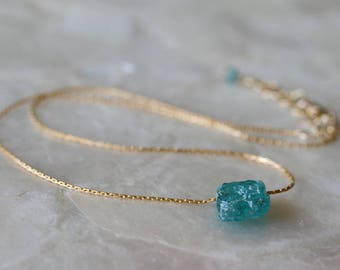 Apatite Necklace, Blue Stone Necklace, Floating Necklace, Raw Stone Necklace, Rough Stone Necklace, Teal Stone Necklace