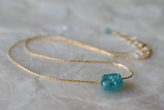 Apatite Necklace, Blue Stone Necklace, Floating Necklace, Raw Stone Necklace, Rough Stone Necklace, Teal Stone Necklace