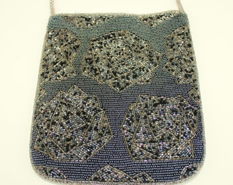 Beaded Floral Evening Bag Purse With Shoulder Strap and Snap Closure
