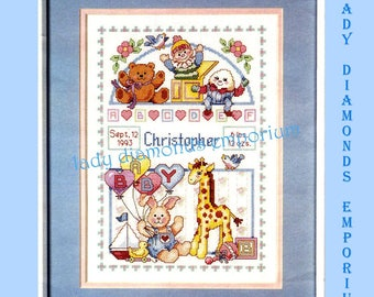 Baby's Birth Record, Counted Cross Stitch Kit by J. & P. Coats Baby Animals Birth Record, Nursery Rhymes Toys Stuffed Animals Keepsake Gift