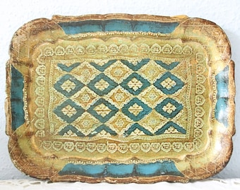 Vintage Small Florentine Wooden Serving Tray, Gold with Blue Decor, Italy