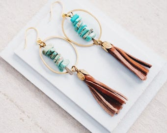 Hoop and tassel Earrings, Beaded tassel Earrings, Magnesite tassel earrings