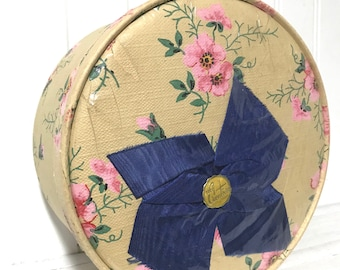 Vintage Small Wallpaper Hat Box from City of Paris