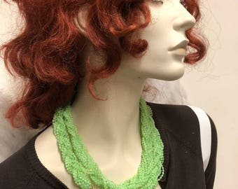Neon green necklace, woven beads summer style