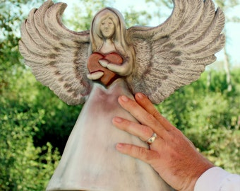 Cremation Urn, Artistic Ceramic Sculpture- Medium Angel with Heart for Child or Keepsake- Unique Personalized Funeral Urns for Human Ashes