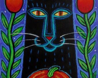 "Halloween-5"" x 7"" Original Cat Folk Art Painting, Black Cat with Jack-O-Lantern, Red Tulips, & Moonlit Sky, Cat Lover's Gift, Halloween Art"