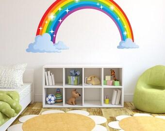 Sparkling Rainbow nursery kids wall decal sticker, deco, mural, vinyl wall art